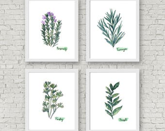 Watercolor Herb Print Set of 4 Watercolor Green Botanical Prints Kitchen Wall Art Home Decor Art Print Wall Decor Herb Set Herbs Art Prints