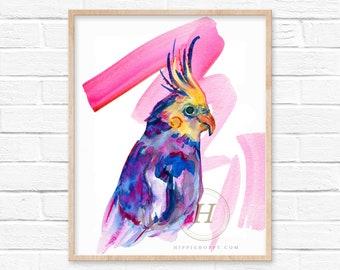 Cockatiel Watercolor Print by HippieHoppy