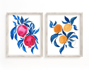 Pomegranate and Orange Watercolor Print Set of 2