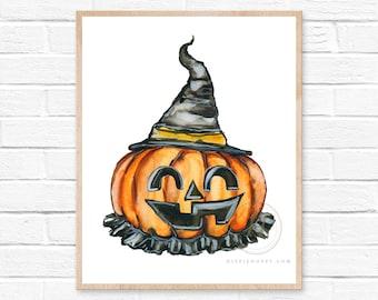 Large Pumpkin Watercolor Print, Modern Art by HippieHoppy
