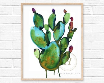 Cactus Watercolor Print Wall Art by HippieHoppy