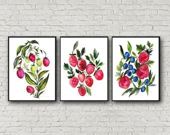 Strawberry Prints set of 3