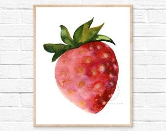 Large Print, Strawberry Watercolor Print Kitchen Art