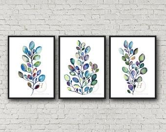 Eucalyptus Set of 3 Watercolor Prints by HippieHoppy
