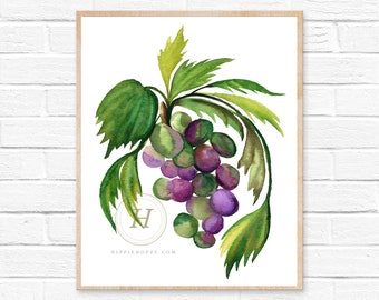 Grape Watercolor Print