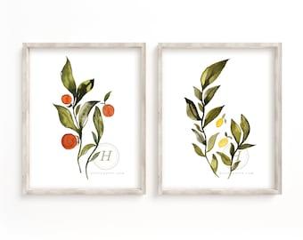 Large Orange and Lemon Watercolor Art Print set of 2
