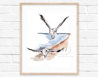 Watercolor Seagull Print
