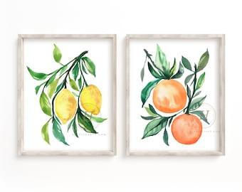 Large Lemon and Orange Print set of 2
