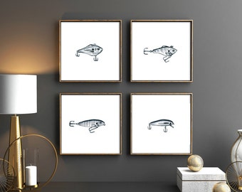 Fishing Hook Prints set of 4