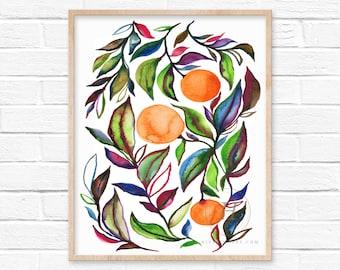 Large Citrus Watercolor Art Print by HippieHoppy