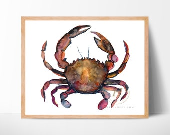 Crab Watercolor Print by HippieHoppy