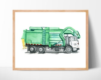 Garbage Truck Watercolor Print