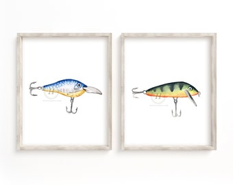 Fishing Hook Watercolor Prints Set of 2
