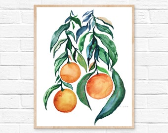Large Oranges, Watercolor Print, Modern Art by HippieHoppy