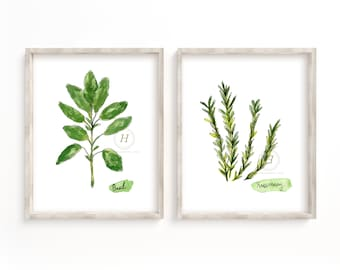 Basil and Rosemary Herbs Watercolor Print set of 2