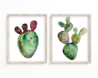 Cactus Art Print, Watercolor Painting, Cacti, Set of 2