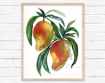 Large Mango Tree Watercolor Art Print