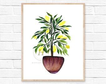 Lemon Tree Watercolor Art Print