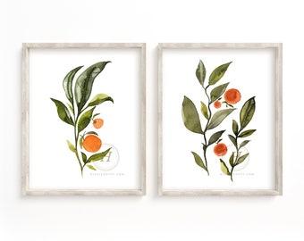 Large Oranges Watercolor Art Print set of 2