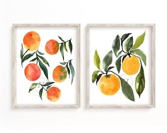 Orange Botanical Print - Art Print - Kitchen Art - Set of 2