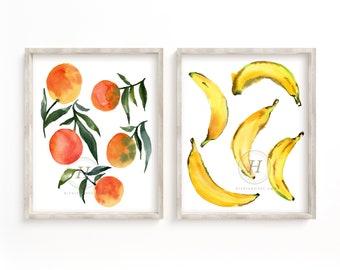 Banana and Orange Watercolor Prints Set of 2