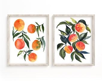 Fruit Print Set of 2 Watercolor Prints