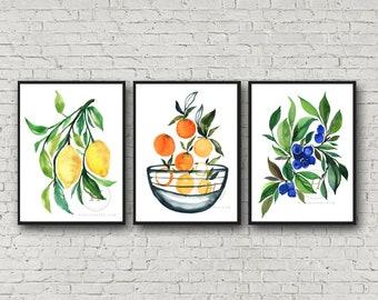 Fruit Watercolor Prints set of 3