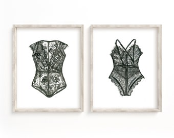 Lingerie prints set of 2