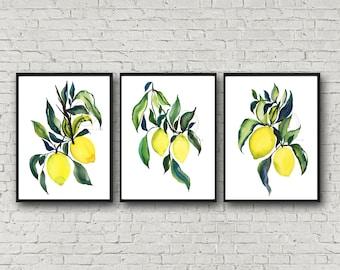 Lemon Yellow Prints, Set of 3, Watercolor Artwork