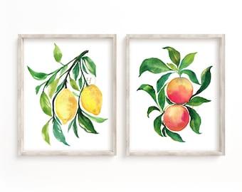 Grapefruit and Lemon Watercolor Print Set of 2