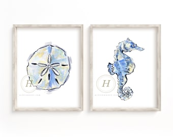 Sand Dollar and Seahorse Watercolor Print Set of 2