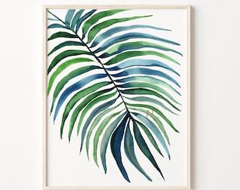 Palm Leaf Watercolor Print Wall Art