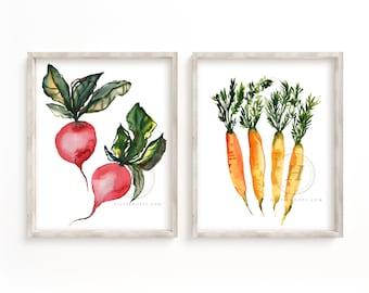 Radish and Carrot Watercolor Print set of 2