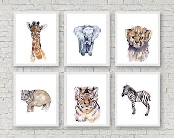 Safari Nursery Art Nursery Watercolor Prints