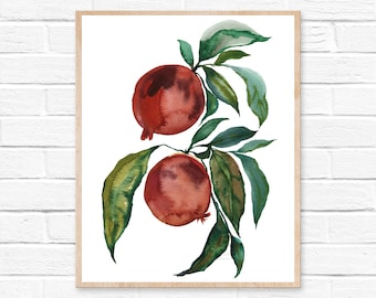 Pomegranate Fruit Watercolor Print