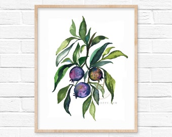 Large Blueberry Watercolor Print