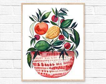 Fruit Print Watercolor Painting Kitchen Art