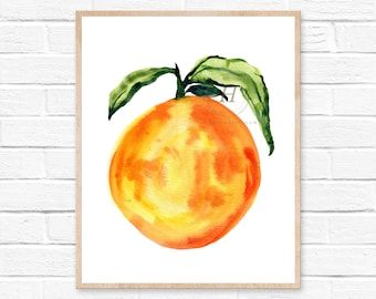 Large Orange Watercolor Print Kitchen Wall Art HippieHoppy