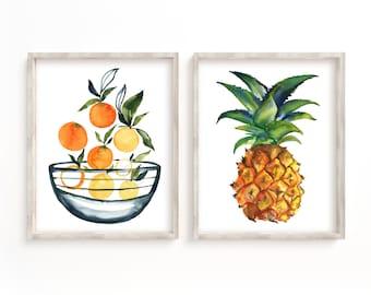 Fruit Bowl Botanical Print - Art Print - Kitchen Art - Wall Art - Fruit Print - Set of 2