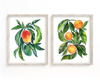 Mango and Orange FruitPrint Set of 2, Watercolor Fruit Art, Wall Art