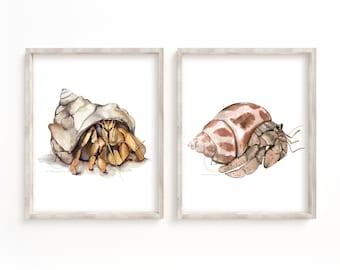 Crab Prints Set of 2, Unframed