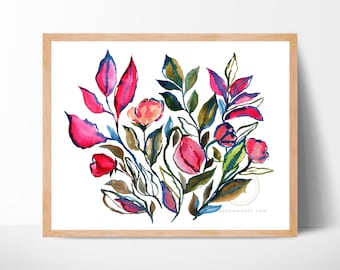 Flowers Abstract Watercolor Print by HippieHoppy
