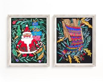 Santa Claus Christmas Watercolor Prints