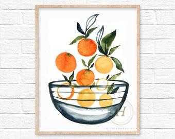 Large Oranges in bowl, Watercolor print, Kitchen art