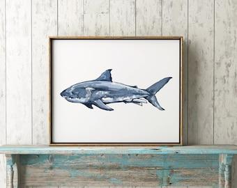 Great White Shark Watercolor Print