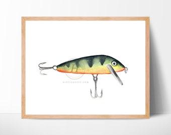 Fishing lure Watercolor Print