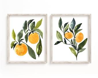 Orange Watercolor Print Set of 2