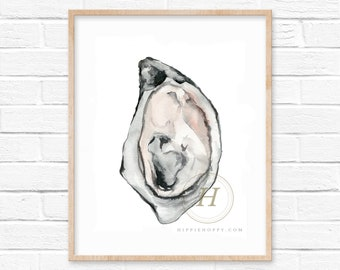 Large Oyster Shell Watercolor Print by HippieHoppy