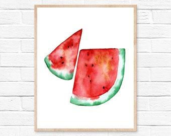 Watermelon Watercolor Print