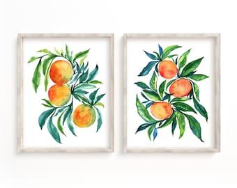 Oranges Watercolor Prints Set of 2